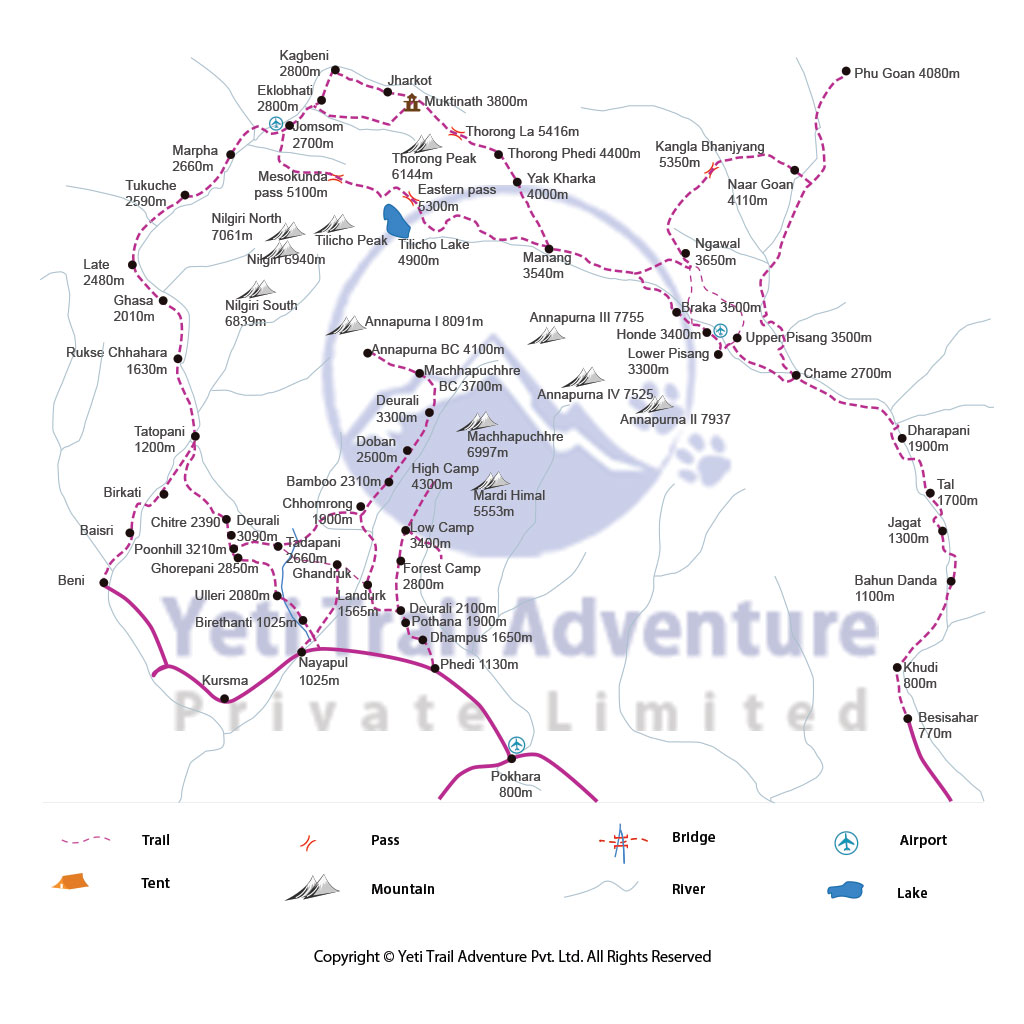 Ghorepani Poon Hill Trekking route map