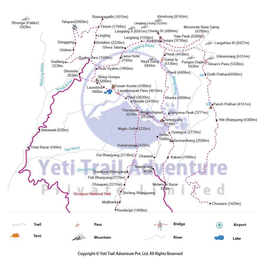 Gosainkunda Pass Trek map