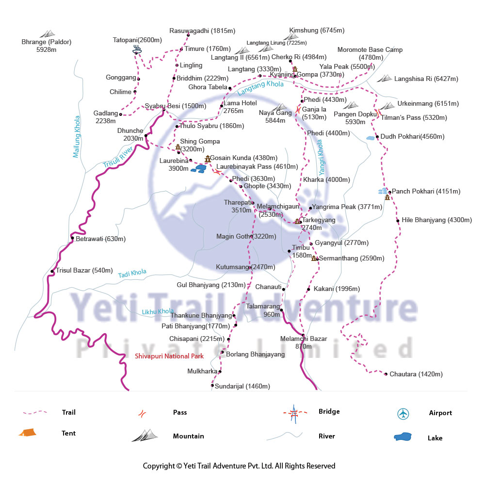 Tamang heritage trek map