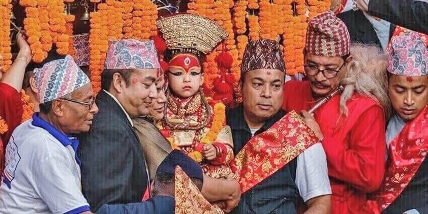 Living Goddess, Kumari at a festival in Kathmandu